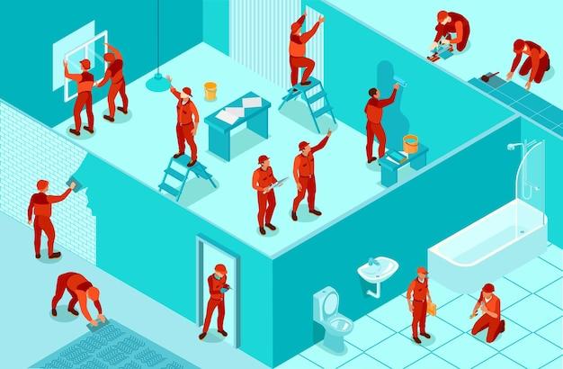 Trabalhadores de serviço de reparo isométrico em ilustração 3d