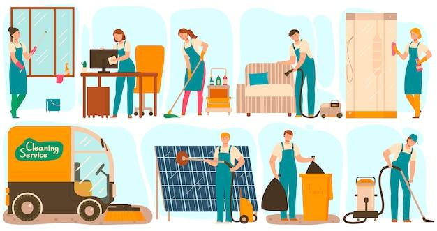 Trabalhadores de serviço de uniforme, ilustração de personagens de desenhos animados de limpeza