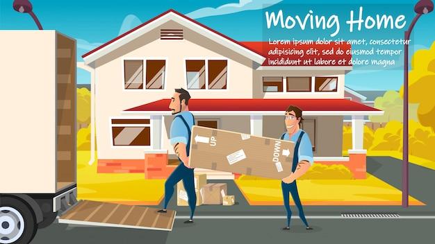 Trabalhadores de serviço em movimento em casa carregando vetor de carga