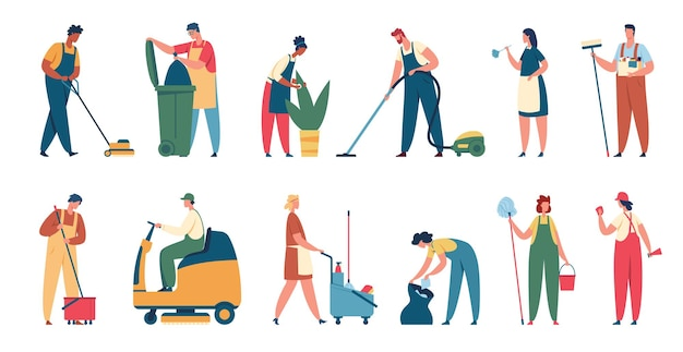 Trabalhadores de serviços de limpeza limpador profissional, limpeza de escritório ou casa com conjunto de equipamentos