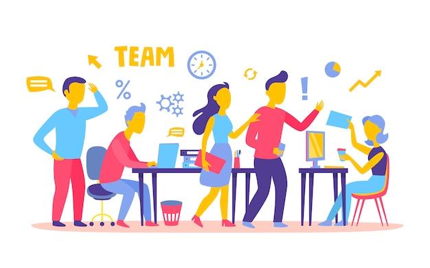 Trabalhadores de trabalho em equipe de pessoas de negócios no escritório trabalhando juntos