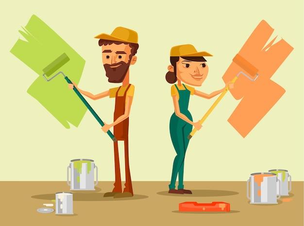 Trabalhadores de uniforme com pincel. ilustração plana dos desenhos animados