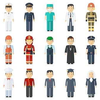 Trabalhadores de várias profissões homens de uniforme