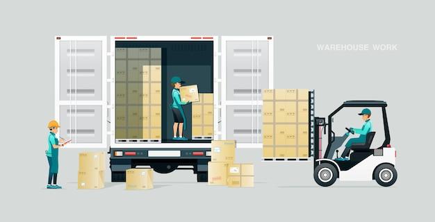 Trabalhadores do armazém inspecionam e entregam mercadorias por caminhão