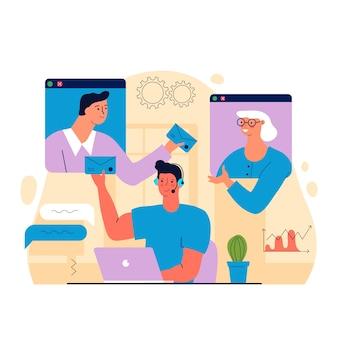 Trabalhadores do conceito de teletrabalho