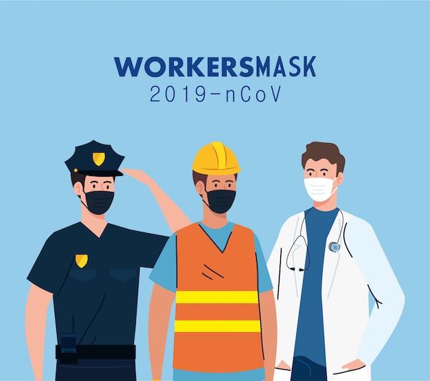 Trabalhadores do grupo usando máscara médica contra o projeto de ilustração ncov 2019