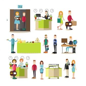 Trabalhadores do hotel e convidados em estilo simples