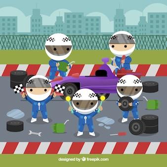 Trabalhadores do pit stop de fórmula 1