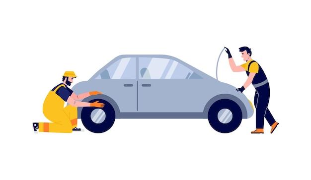 Trabalhadores do serviço de automóveis verificando ilustração vetorial plana de motor isolada