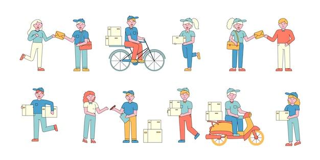 Trabalhadores do serviço de entrega de correio conjunto de charers plana. pessoas recebendo cartas e encomendas.