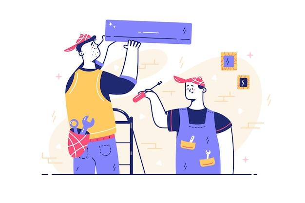 Trabalhadores do sexo masculino reparando ilustração de detalhes