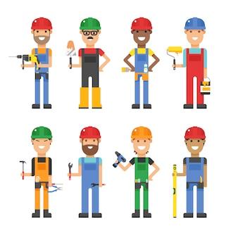 Trabalhadores dos desenhos animados e outras ferramentas em ilustração vetorial de construção