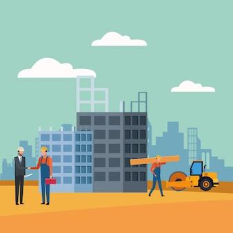 Trabalhadores e engenheiro ao longo em cenário de construção
