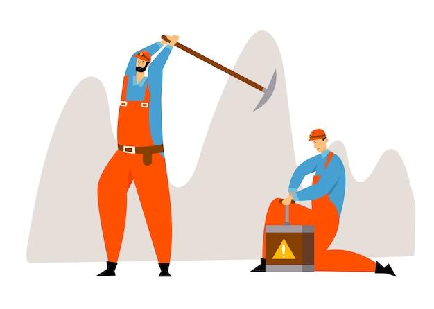 Trabalhadores em macacões uniformes e capacetes com picareta e dinamite, mineração de carvão ou minerais, personagens de mineiros no trabalho.