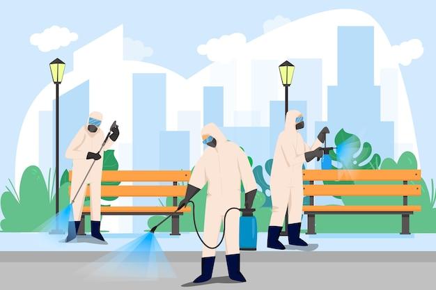 Trabalhadores em traje de proteção, limpando as ruas