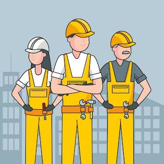 Trabalhadores felizes do dia do trabalho e uma cidade para ilustração de fundo