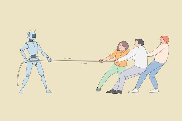 Trabalhadores humanos puxando a corda contra o trabalhador robótico. ilustração do conceito de vetor de luta entre tecnologia de inteligência artificial e pessoas de negócios.