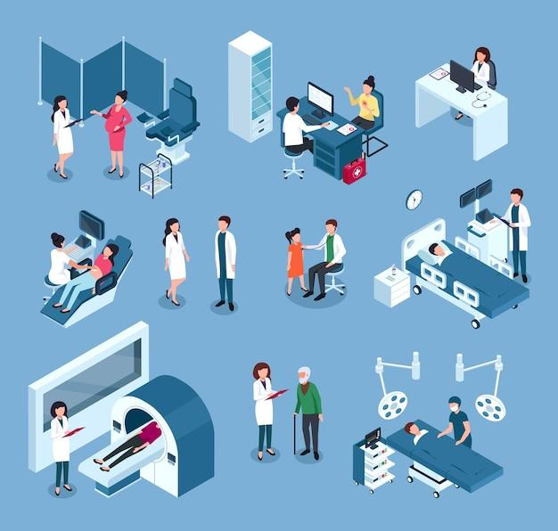 Trabalhadores isométricos do hospital médicos cirurgiões com equipamento médico examinando o conjunto de pacientes
