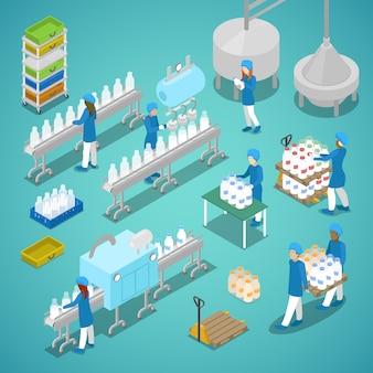 Trabalhadores isométricos na fábrica de leite