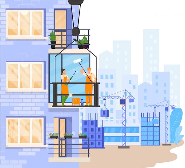 Trabalhadores, limpeza, janela sacada, exterior, predios, pessoas, ilustração