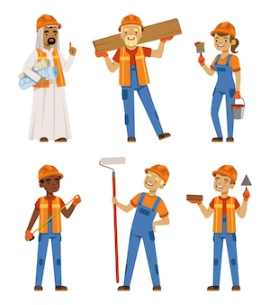 Trabalhadores masculinos e femininos de uniforme. engenheiros e construtores na obra. caracteres definidos isolados. personagem de engenheiro trabalhador, ilustração profissional de empreiteiro