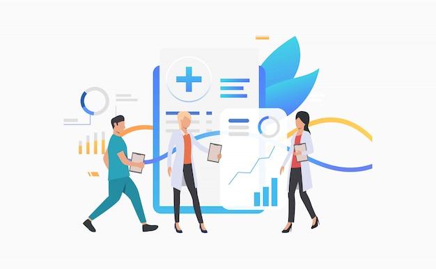 Trabalhadores médicos, analisando, registro eletrônico