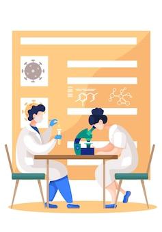 Trabalhadores médicos no laboratório com jaleco branco e máscaras trabalhando com microscópio