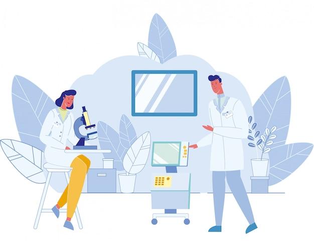 Trabalhadores médicos usando tecnologias modernas em laboratório