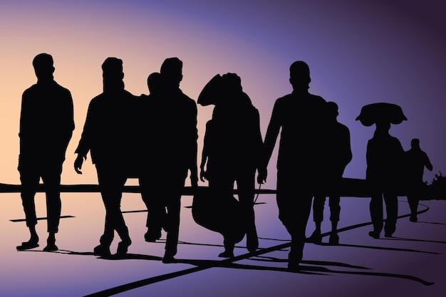 Trabalhadores migrantes retornando devido à ilustração vetorial de pandemia de vírus corona