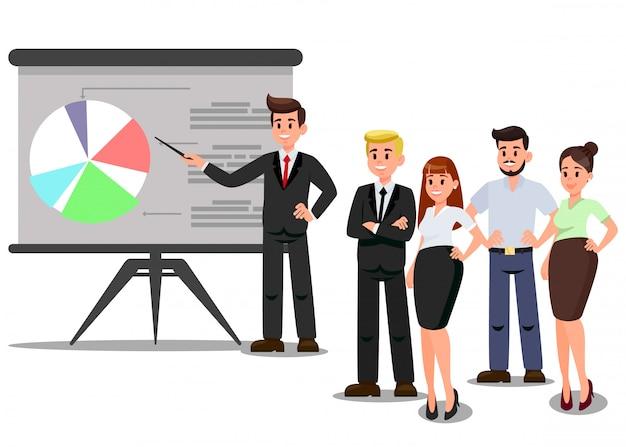 Trabalhadores na ilustração de vetor de conferência de negócios