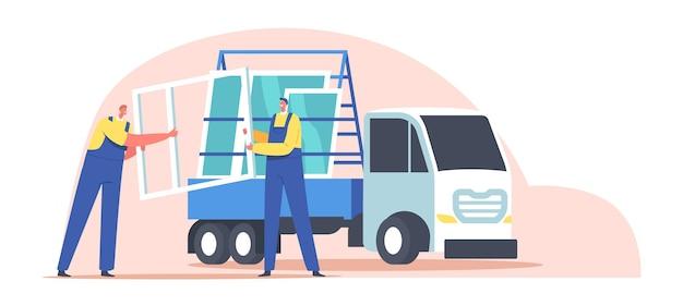 Trabalhadores personagens masculinos carregando janelas de pvc em caminhão semi estacionário com rack de vidro para transporte de painel. prestação de serviços, construção e reparos. ilustração em vetor desenho animado