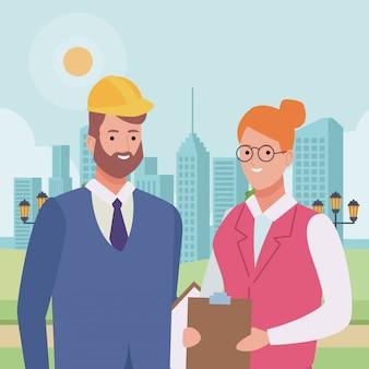Trabalhadores profissionais casal sorrindo cartoons