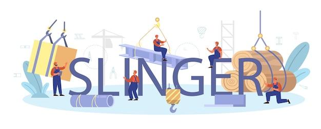 Trabalhadores profissionais da construção de artigos de estilingue para a indústria
