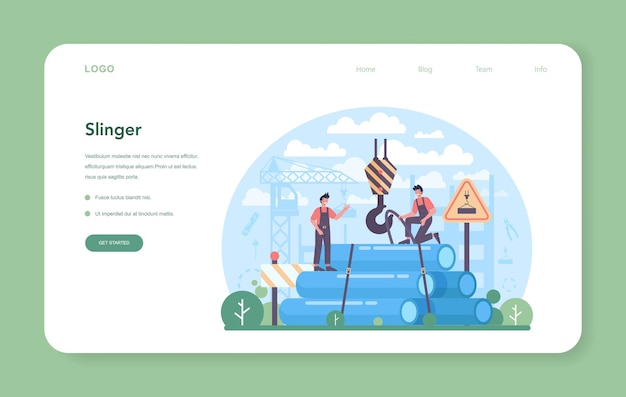 Trabalhadores profissionais do slinger web banner ou landing page