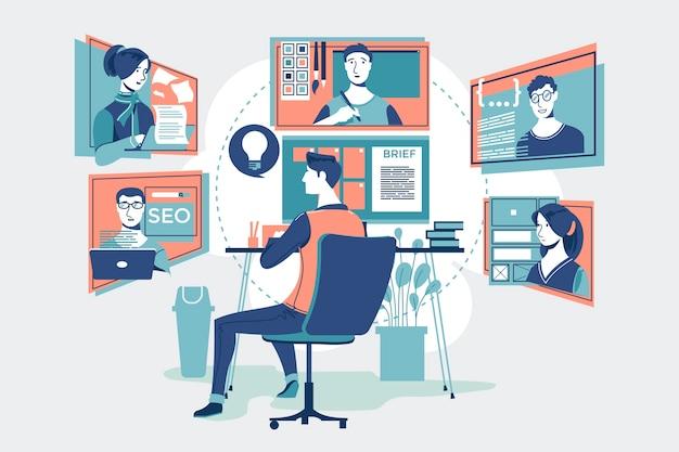 Trabalhadores profissionais, trabalho em equipe trabalhando online