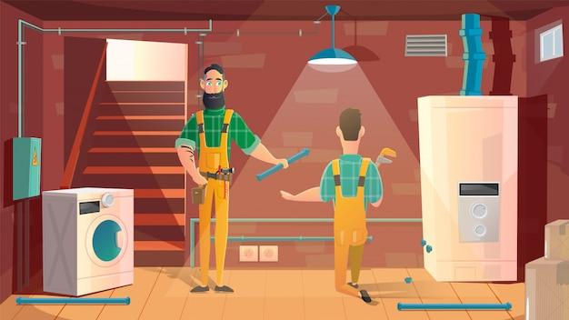 Trabalhadores que instalam vetor de desenhos animados de máquina de lavar roupa