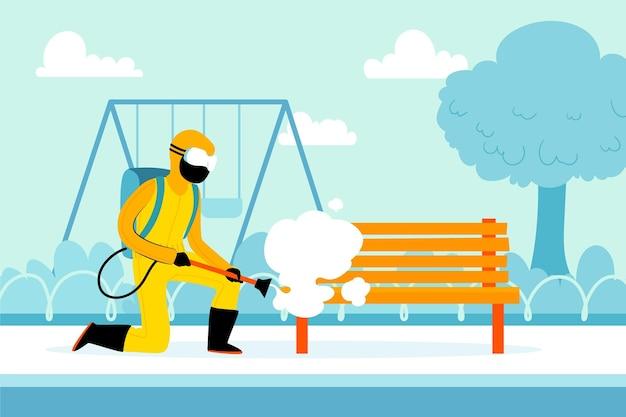 Trabalhadores que prestam serviços de desinfecção em áreas públicas