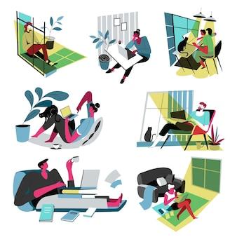 Trabalhadores trabalhando em casa durante a quarentena