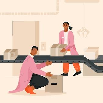 Trabalhadores trabalhando no transportador em uma fábrica ou armazém inteligente