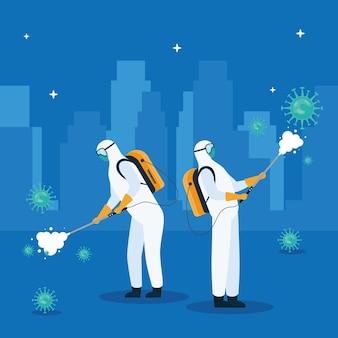 Trabalhadores vestindo roupas de risco biológico desinfetando na ilustração da cidade