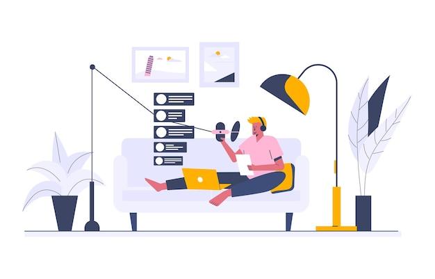 Trabalhando como jóquei de rádio, ilustração estilo cartoon