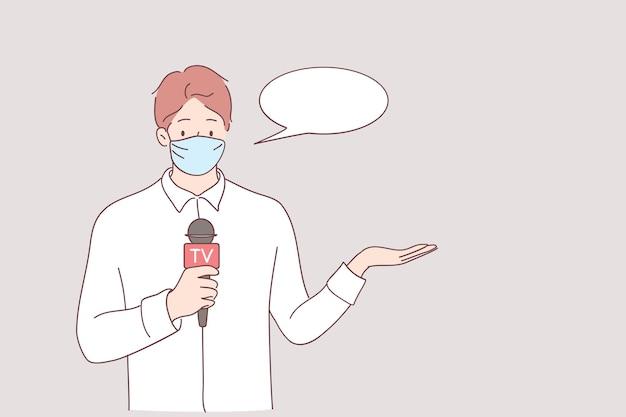 Trabalhando durante a pandemia da ilustração do conceito covid-19