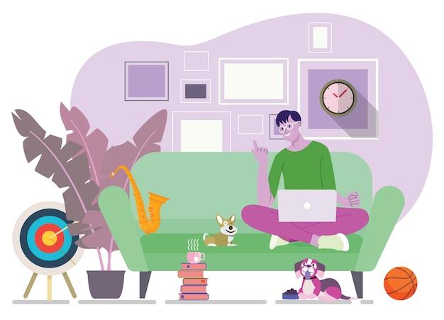 Trabalhando em casa, as pessoas que trabalham em casa