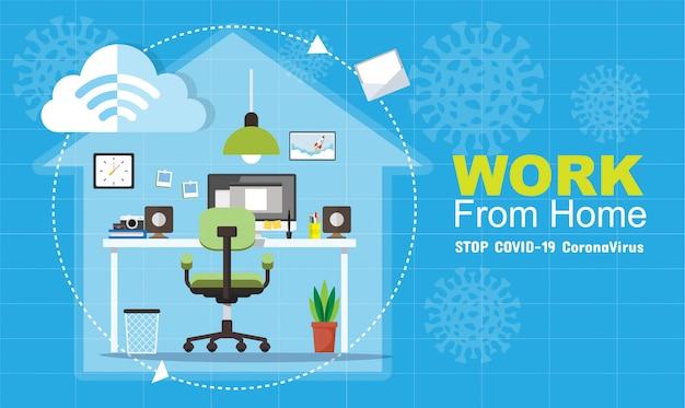 Trabalhando em casa durante o covid-19, conceito de distanciamento social