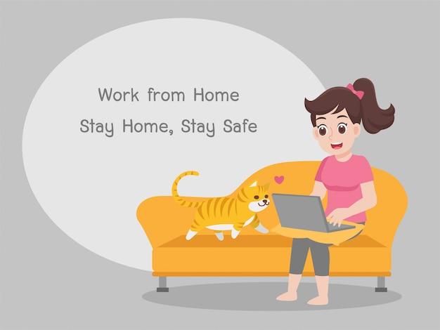 Trabalhando em casa, fique em casa e fique seguro. distanciamento social