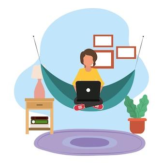 Trabalhando em casa, homem usando laptop na rede, pessoas em casa na ilustração de quarentena