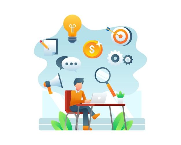 Trabalhando em casa ilustração com homem digitando no laptop e rodeado por ícones de negócios plana