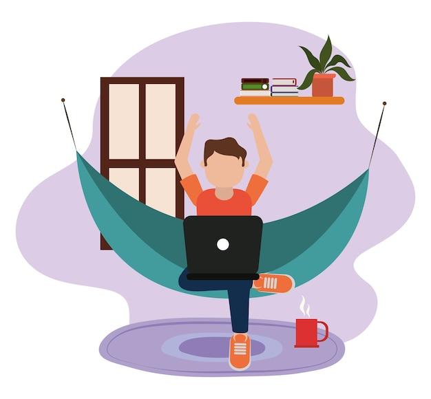 Trabalhando em casa, jovem usando laptop na rede na sala, pessoas em casa na ilustração de quarentena