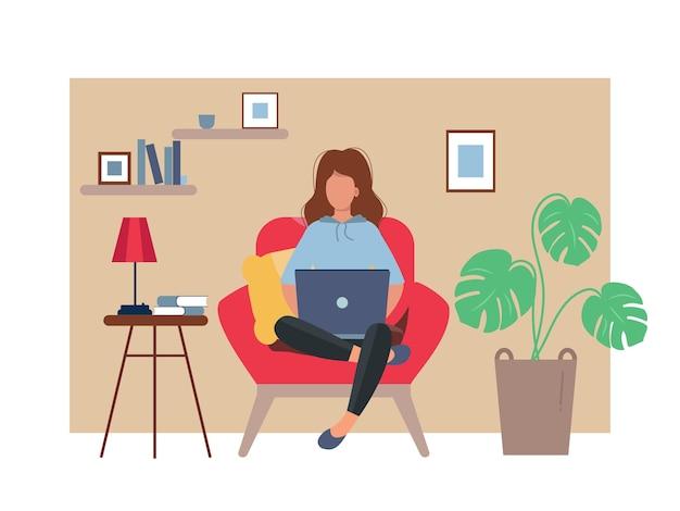 Trabalhando em casa. mulher freelance trabalha em condições confortáveis
