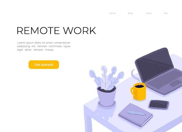 Trabalhando em home office. mesa na sala, laptor, caderno, flor em uma panela, smartphone e xícara de café.